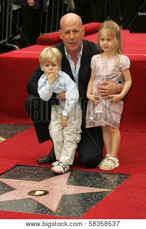 Bruce Willis with his Nephew and Niece at the Ceremony honoring Bruce Willis with the 2,321st star on the Hollywood Walk of Fame. Hollywood Boulevard, Hollywood, CA. 10-16-06