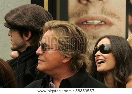 Ashton Kutcher with Don Johnson and Demi Moore at the Ceremony honoring Bruce Willis with the 2,321st star on the Hollywood Walk of Fame. Hollywood Boulevard, Hollywood, CA. 10-16-06