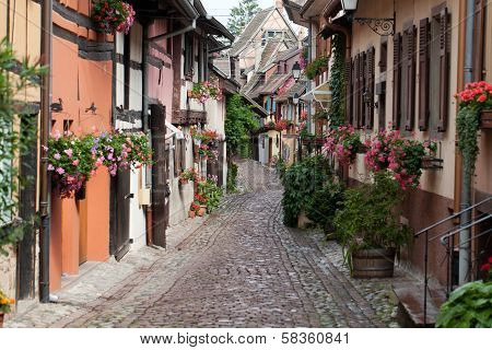 Street with half-timbered medieval houses in Eguisheim
