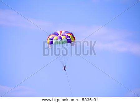 Extreme parachuting for tourists on an ocean resort