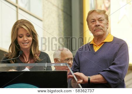 Jeanie Buss and Jerry Buss at the Ceremony Honoring Los Angeles Lakers Owner Jerry Buss with the 2,323rd star on the Hollywood Walk of Fame. Hollywood Boulevard, Hollywood, CA. 10-30-06