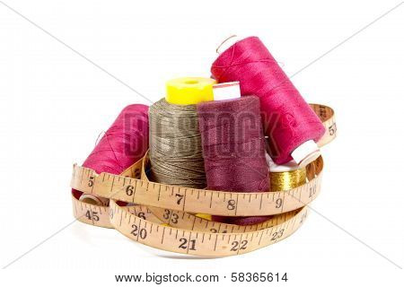 Colorful Collection Of Cotton Reels And Vintage Tape Measure