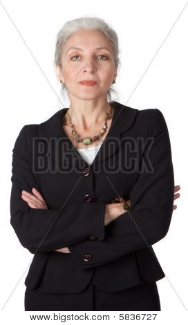 Close-up Portrayal Of Senior Businesswoman on white