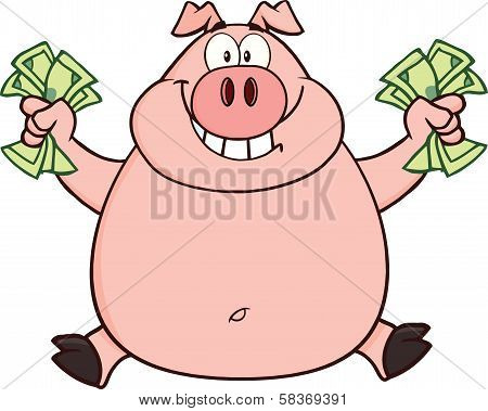 Smiling Rich Pig Jumping With Cash