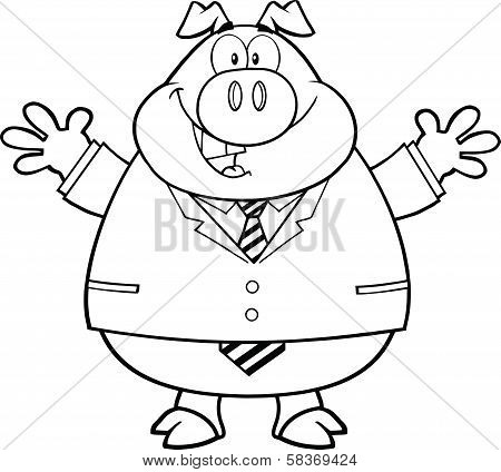 Black And White Businessman Pig Character With Open Arms