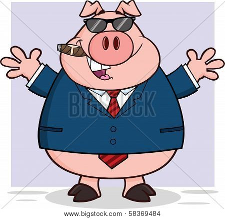 Businessman Pig With Sunglasses,Cigar And Open Arms