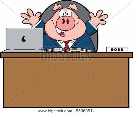 Businessman Pig Cartoon Character Behind Desk