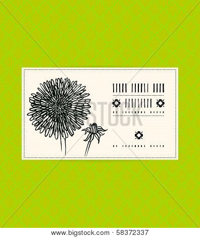 Vector card with dandelion flower