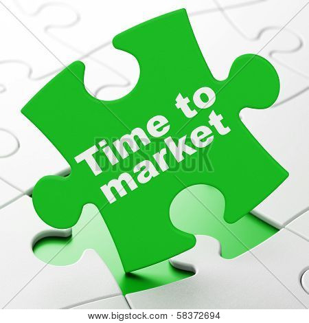 Time concept: Time to Market on puzzle background