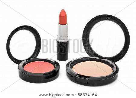 Lipstick, Blush And Face Powder On White Background