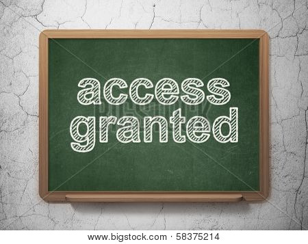 Safety concept: Access Granted on chalkboard background