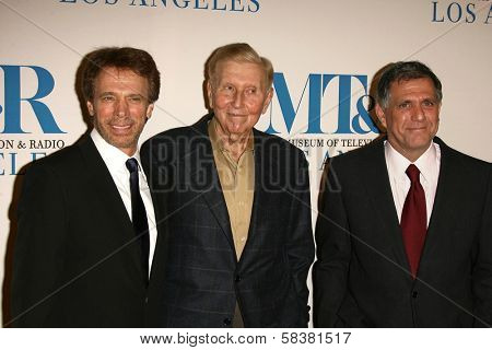 Jerry Bruckheimer with Sumner Redstone and Leslie Moonves at The Museum of Television & Radio's Annual Los Angeles Gala. Regent Beverly Wilshire Hotel, Beverly Hills, CA. 10-30-06