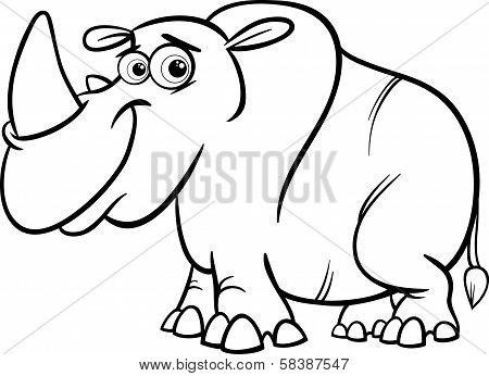 Rhinoceros Cartoon Coloring Page