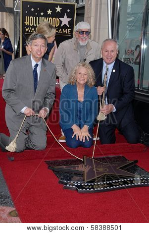 Leron Gubler, Carole King, Lou Adler, Tom LaBonge at the Carole King Hollywood Walk Of Fame Ceremony, Hollywood, CA 12-03-12