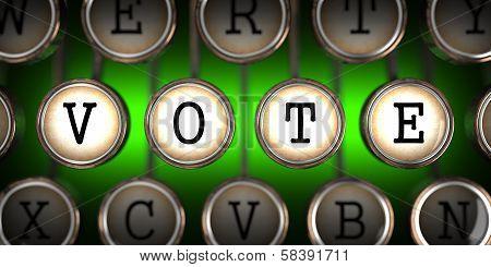 Old Typewriter's Keys with Vote Slogan.