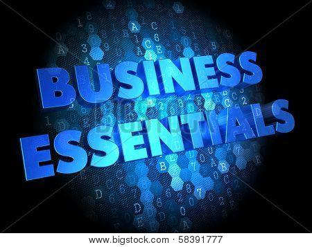 Business Essentials on Digital Background.