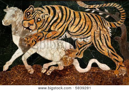 Roman Mosaic Tiger Hunting Capitoline Museum Rome Italy