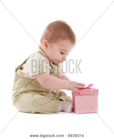 Baby Boy Open Small Pink Gift Box