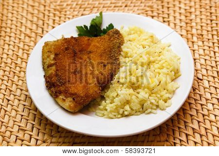 Fried Breaded Tilapia Served With Rice