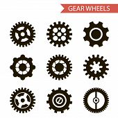 Flat Design Style Black Gear Wheels Icons Set Isolated for Web and Mobole vector