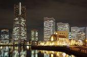stock photo of minato  - Yokohama skyline at minato mirai area at night view - JPG