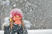 image of cold-shoulder  - freezing young woman warming his hands shoot in winter day - JPG