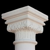 foto of neo-classic  - Classical white column capital with leafs isolated on black - JPG