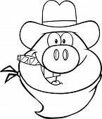 Black And White Cowboy Pig Head Cartoon Character