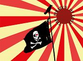picture of skull crossbones flag  - Black and white pirate flag on a pole with a crow on top - JPG