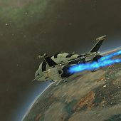 picture of battleship  - A shuttle from Earth comes in for a landing on an alien planet - JPG