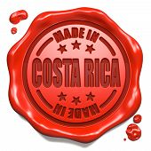 Made in Costa Rica - Stamp on Red Wax Seal.