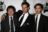 BEL AIR, CA - NOVEMBER 18: Masi Oka with Adrian Pasdar and Milo Ventimiglia at the 5th Annual