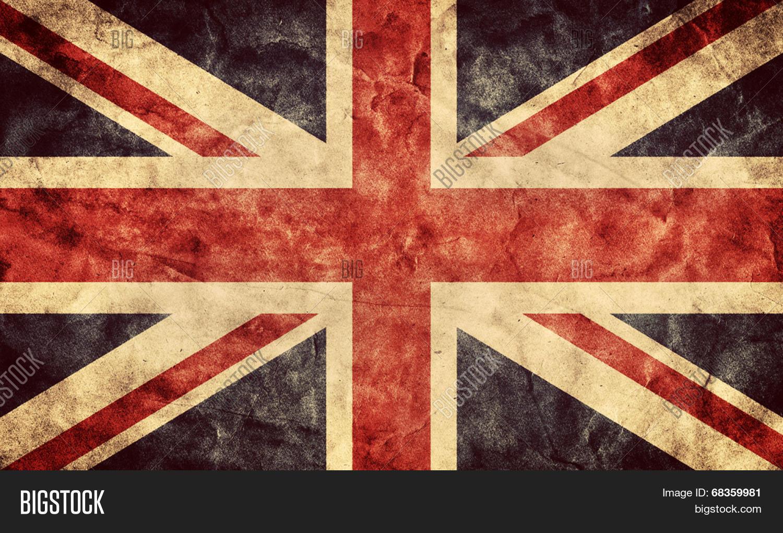 The United Kingdom or Union Jack grunge flag. Vintage, retro style ...