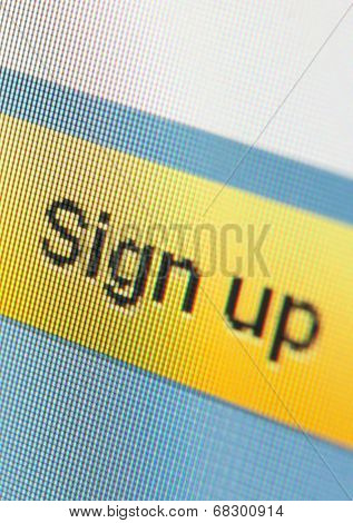 Close up of sign up icon. Concept of surfing the internet and pastime