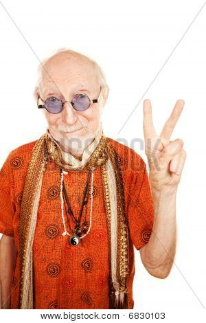 Senior Man Making Peace Sign