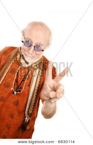 Senior Man Making Peace Sign