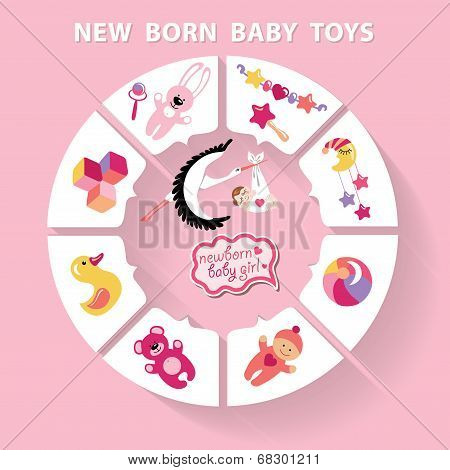 Circle Vector Baby Infographic.new Born Baby Girl Toys