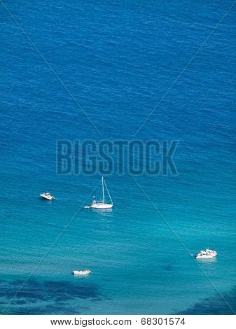 Boats In A Bay From Above