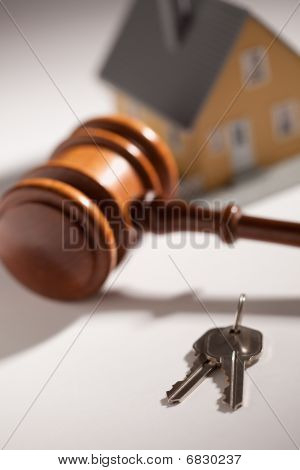 Gavel, House Keys And Model Home