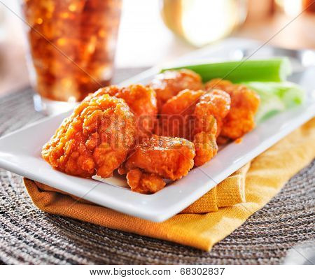 boneless buffalo wings with celery and ranch