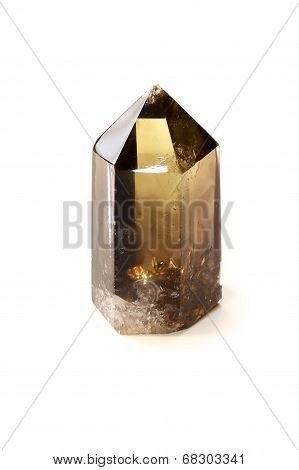 Smokey Black Quartz Crystal Over White