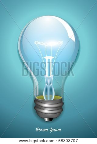 Electric light bulb on blue background. Vector background.