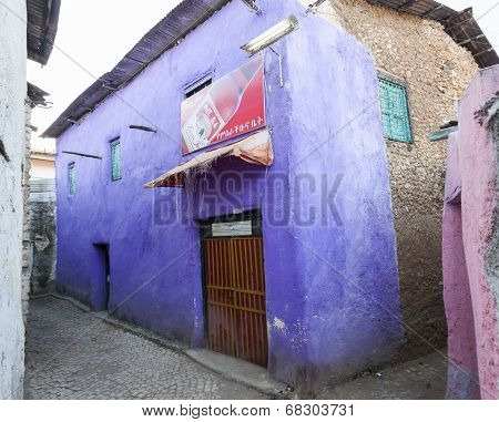 Shop In Narrow Alleyways Of Ancient City Of Jugol Early In The Morning. Harar. Ethiopia.