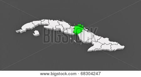 Map of Ciego de Avila. Cuba. 3d