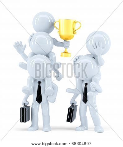 Winners And Losers. Business Concept. Isolated. Contains Clipping Path