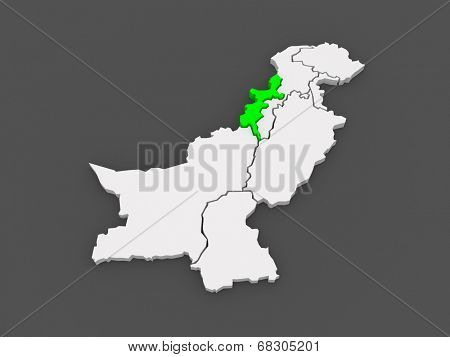 Map of Federally Administered Tribal Areas of Peshawar. Pakistan. 3d
