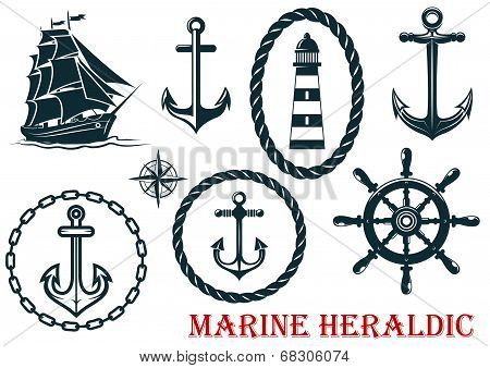 Marine and nautical heraldic elements