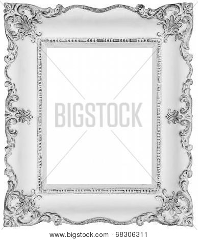 White baroque frame -White frame isolated on white, inner and outer clipping paths included