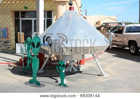 BAKER, CALIFORNIA  - July 12, 2014: Space Ship at the Alien Fresh Jerky Store, a tourist attraction just off the I 15 Highway, the main road to Las Vegas, Nevada.