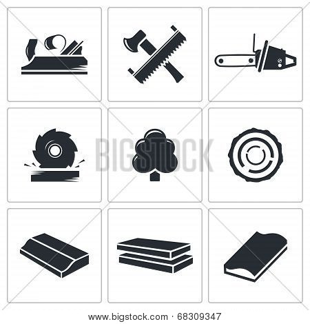Woodworking Icons Set